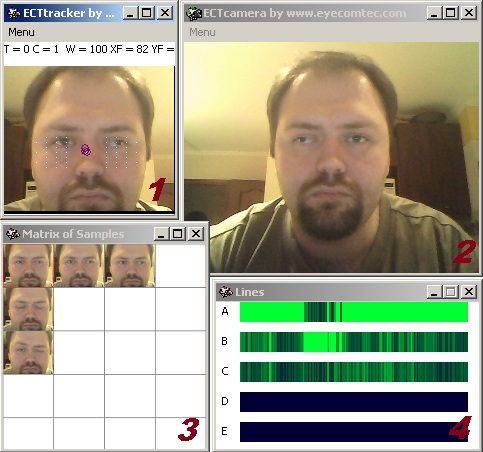 ECTtracker - an eye-tracking program to type text by opening or closing the eyes easy Screen Shot