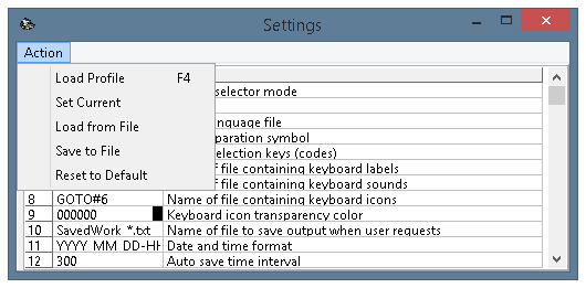 ECTkeyboard - Settings and additional parameters